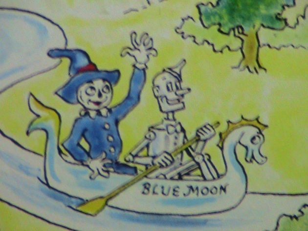 The Tin Woodman rowing the Scarecrow on the Blue Moon.