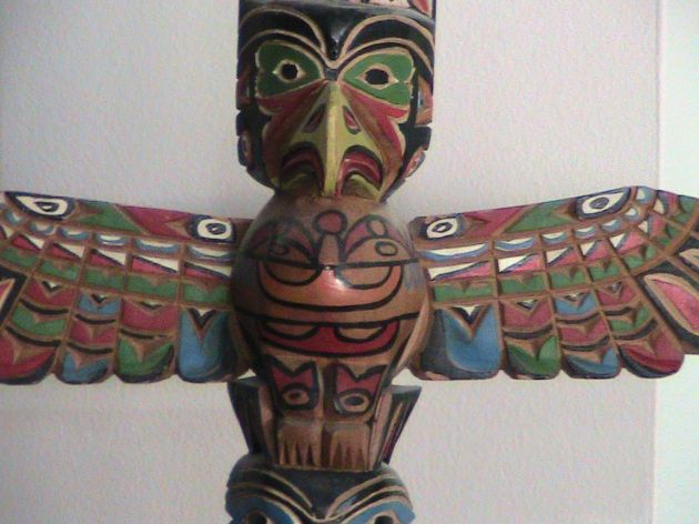 My totem pole, which Grandma brought me from her trip to Alaska in the early 1960s.