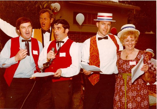 Cecil Ross with the barbershop quartet