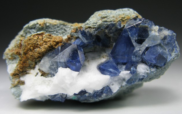 Benitoite_ cluster of blue xls, 7.6 cm x 7.6 cm x 3.8 cm, San Benito, California. Photo by RC.